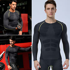 Mens Compression Armour Base Layer Long Sleeve Tights Football Thermal Shirt Top