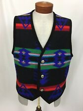 Vtg Western Wear Wool Southwestern Print Vest Sz XL Tribal Concha Buttons Men's