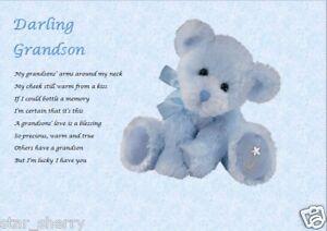 GRANDSON GIFT - personalised grandson keepsake poem