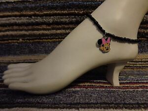 MINNIE MOUSE enamel charm ankle bracelet beads anklet stretchy beach glitter