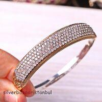 Turkish Handmade Jewelry Sterling Silver 925 White Zircon Bracelet Bangle Cuff