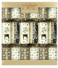 Set of 12 Large Luxury Gold Reindeer Christmas Cracker Gift Boxed 14inch