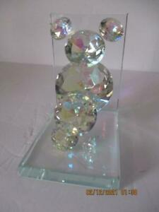 "One Mickey Mouse Stylish Crystal Clear Diamond Bookend 5-7/8""Tx 4""Wx5-7/8""D"