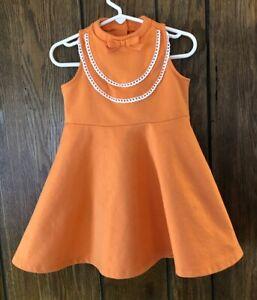 Janie And Jack Peach Paradise Girls 3 Orange Ponte Bow Dress Eyelet Trim
