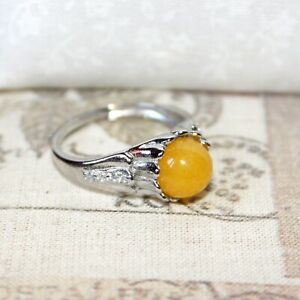 Cute 925 Silver and Mustard yellow gemstone adjustable ring