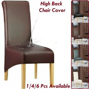 Stretch High Back Dinning Chair Covers Waterproof PU Leather Slipcover Durable
