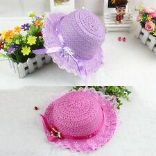 Baby Girls Children Kids Lace Flower Hat Node Brim Summer Beach Sun Straw Cap EC