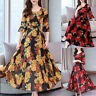 Plus Size Women Floral Long Maxi Dress Half Sleeve Party Beach Swing Sundress