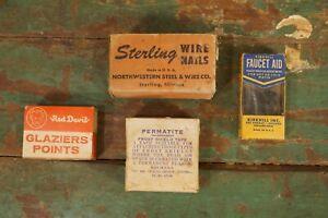 Antique Sterling Brand Wire Nails Red Devil Glaziers Faucet Aid + Tape Originals