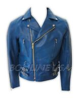 2XL Size Men's Blue Leather Jacket Motorcycle Biker Heavy Duty Zipper Jacket New