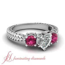 1.30 Ct Tapered Engraved Shank wedding Rings With Heart Diamond & Pink Sapphire