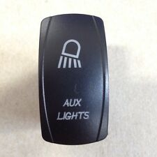 LASER ETCHED 12V LED BACK LIT ROCKER SWITCH Blue AUX Lights Rhino Teryx Boat