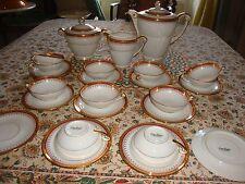 GEORGES BOYER beau service à thé café LIMOGES  porcelaine dorée