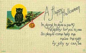 Halloween Postcard Owl on Branch w/ Moon & Hanging Pumpkin