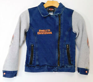 HARLEY DAVIDSON Denim JACKET Zip Up YOUTH 7/8