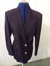 AUSTIN REED NAVY BLUE WOOL SKIRT SUIT - SIZE 6