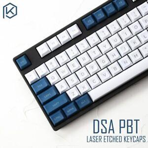 DSA Profile White And Blue Keycap Set Laser Etched PBT Custom Gaming Keycaps