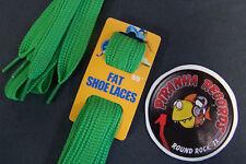 "Green Fat Flat 50"" x (5/8""-3/4"") JN Shoelaces Shoe Strings Piranha Records"