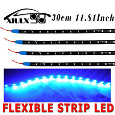 4X Flexible Blue LED 30CM 12V Light Strip High Power Waterproof Car Motor 15SMD