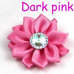 30-100PCS Satin Ribbon Flower w/Crystal Bead Appliques DIY Craft Supplies Trim