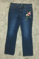 WOMEN'S ST JOHNS BAY 1185 JEANS SIZE 12 EMBROIDERED STRAIGHT LEG  Inseam - 30""