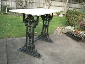 VINTAGE HEAVY CAST IRON GARDEN TABLE WITH MARBLE TOP