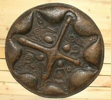 Vintage wall hanging ornate abstract bronze plated brass plate