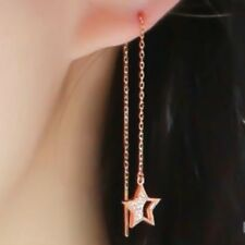 TPD 14K Solid Rose Gold Twinkle Star Long Threader Drop Dangle a Pair Earrings