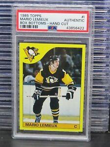 1985-86 Topps Mario Lemieux Box Bottoms-Hand Cut #1 PSA Authentic Penguins H36