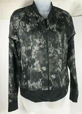 Columbia Athletic Jacket Womens XS Black Gray Print Camo Full Zip Pockets Blazer