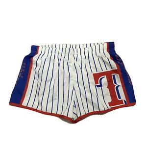 New Texas Rangers MLB Baseball Logo Athletic Striped Shorts Women's Small S