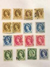 Vintage Old Great Britain England Queen Elizabeth Postage Revenue Stamp Lot GGG