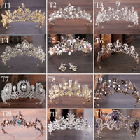 Vintage Wedding Crystal Bridal Pearl Headband Queen Crown Tiara Hair Accessories