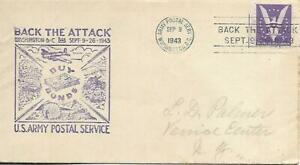 Back the Attack Army Postal Service Patriotic Cachet PM Washington Sep 9 1943