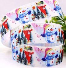 RUBAN GROS GRAIN IMPRIMÉ ** 22 mm ** Bonhomme neige Sapin Noël - vendu au mètre