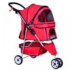 New Red Pet Stroller Cat Dog Cage 3 Wheels Stroller Travel Folding Carrier ++