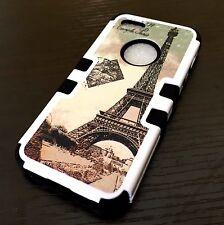 For iPhone SE 5S HARD&SOFT RUBBER HYBRID IMPACT ARMOR CASE PARIS EIFFEL TOWER