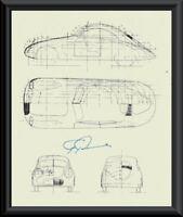 Ferdinand Porsche Autograph Reprint Diagram of 114K1 On Fine Linen Paper P061