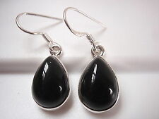 Black Onyx Pear-Shaped 925 Sterling Silver Dangle Earrings Corona Sun Jewelry
