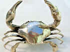 """used large MUD CRAB solid brass silver plated heavy hand made 10"""" claw statue B"""