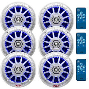 6 X  MRGB65S 6.5-Inch 2 Way 200 Watt Marine Multi Color LED Speakers W/Remote
