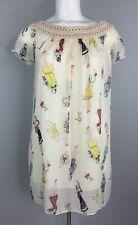 Women's Short Sheer Dress Size M/L Beige Popeye Olive Oyl Paper Doll Print