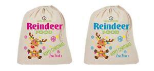 Personalised Reindeer Food bag Magic food Santa Kids Xmas Christmas Eve girl boy