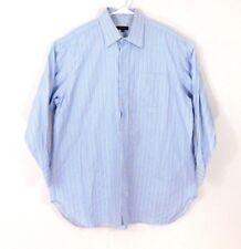 Robert Talbott Mens Button Down Shirt Long Sleeve Cotton 17.5/34 Blue Striped
