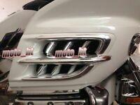 1 Set Chrome Premier Shark Gills Trim ABS For Honda Goldwing 1800 GL1800 01-11