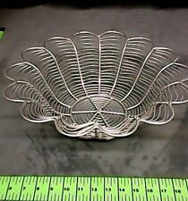 Large Vintage Heavy Rustic silver Wire Metal Centerpiece Fruit Serving Basket