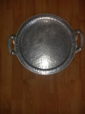 Vintage 1946 Continental Hand Wrought Silverlook Handled Serving Platter #578