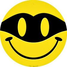 "Bandit Zorro Mask Smiley Face 12"" Round Metal Sign Fun Novelty Home Wall Decor"