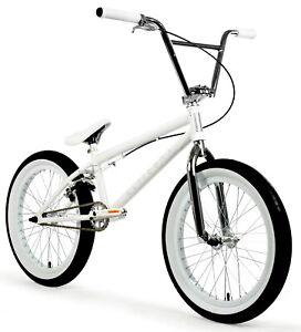 """Elite 20"""" BMX Destro Bicycle Freestyle Bike 3 Piece Crank White Chrome New 2021"""