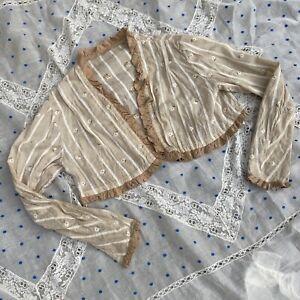 Antique Edwardian Ecru Cotton Blouse Top Embroidered Flowers Ruffles  Vintage